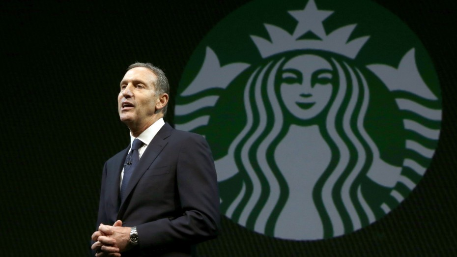 Starbucks CEO Howard Schultz speaks at the company